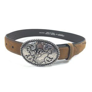 Nocona Brown Leather Belt Removable Buckle Rodeo